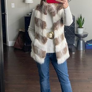 White House Black Market Fur Vest
